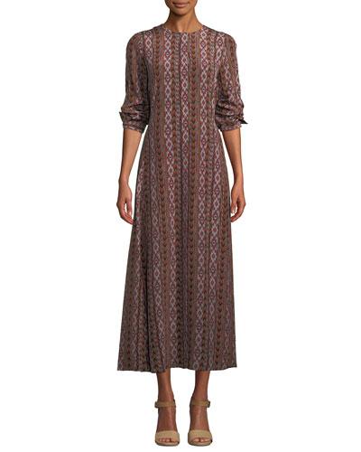 Coleen Long-Sleeve Belted A-Line Kilim-Print Silk Dress