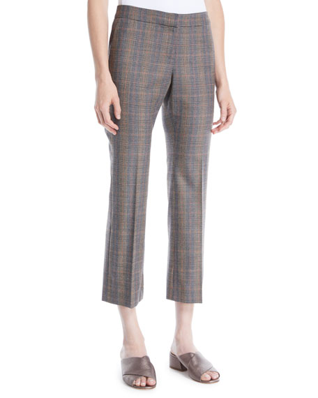 Lafayette 148 New York Manhattan Plaid Cropped Flare