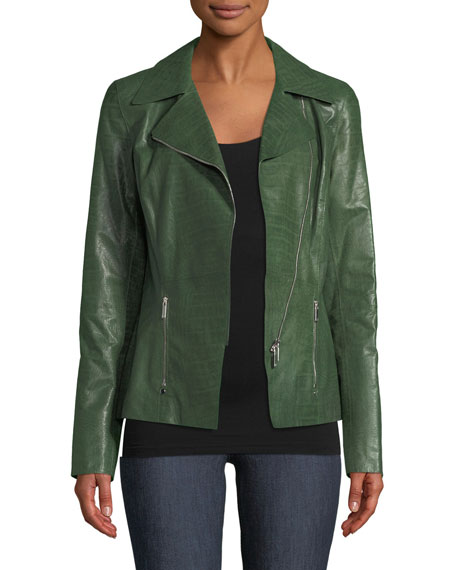 Julius Zip-Front Crocodile-Embossed Leather Jacket in Dark Green