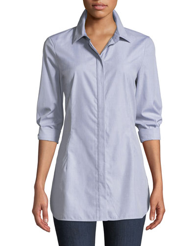 Jake Button-Front Long-Sleeve Cotton Shirting Blouse