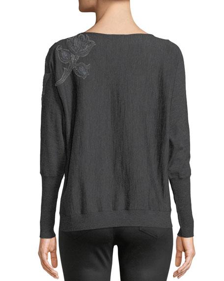 Dolman-Sleeve Merino Wool Sweater w/ Embroidery