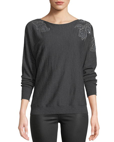 Lafayette 148 New York Dolman-Sleeve Merino Wool Sweater