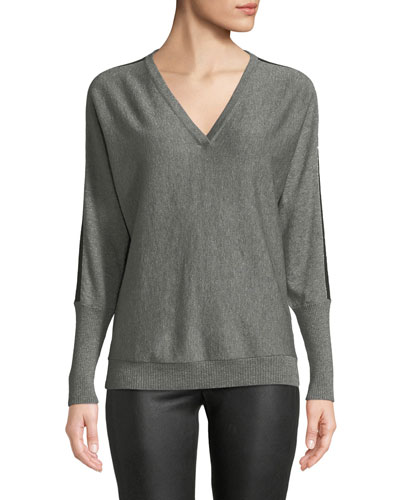 V-Neck Striped Dolman-Sleeve Metallic Cashmere Sweater