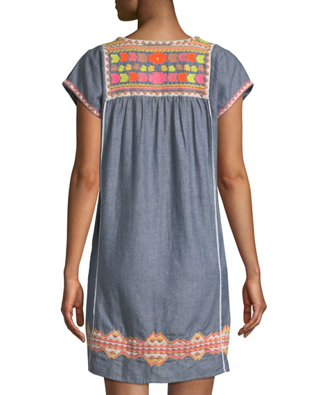 Embroidered Short-Sleeve Tunic Dress Coverup