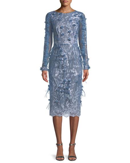 Ruffle-Sleeve Dress w/ Feather Details