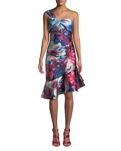 Floral-Print One-Shoulder Cocktail Dress