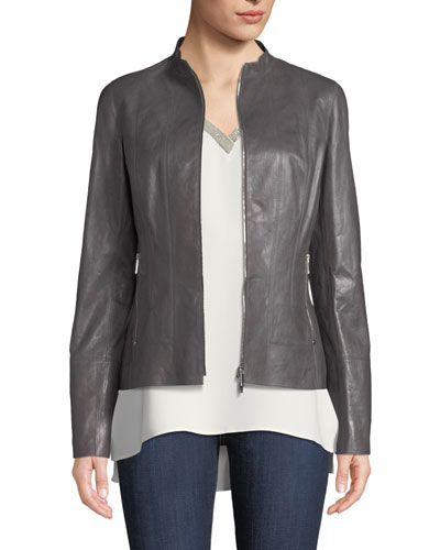 Sadie Zip-Front Glazed Lightweight Lambskin Leather Jacket