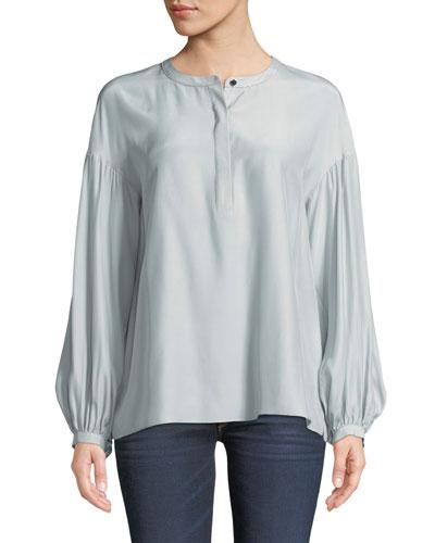 Kenzie Long-Sleeve Matte Silk Blouse w/ Chain Detail