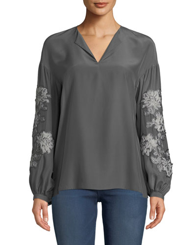 Aquila Split-Neck Embroidered Sleeve Matte Silk Blouse