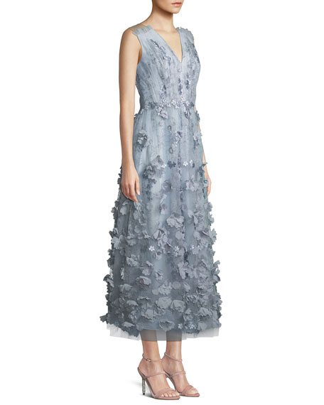 Sleeveless Cocktail Midi Dress w/ 3D Floral Embroidery