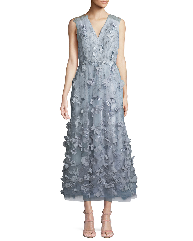 b61eb7155e6 David Meister Sleeveless Cocktail Midi Dress w  3D Floral Embroidery ...