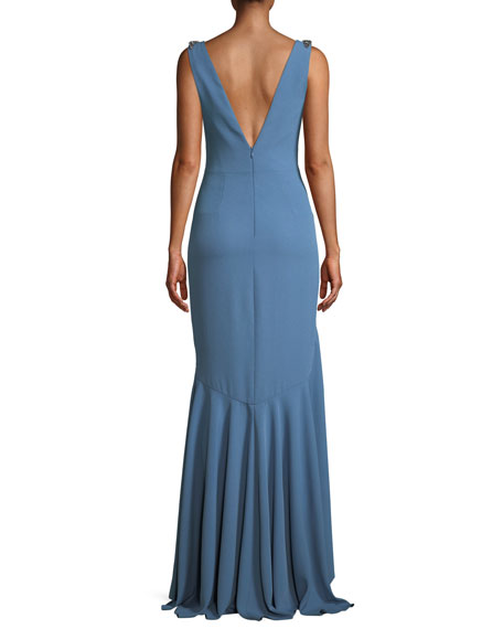 Crepe V-Neck Gown w/ Beaded Straps