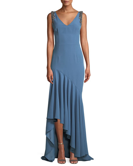 David Meister Crepe V-Neck Gown w/ Beaded Straps
