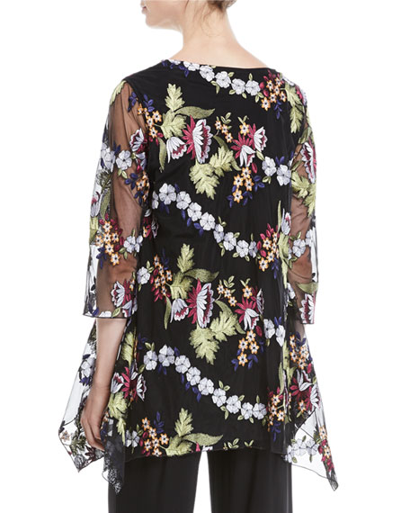 3/4-Sleeve Floral-Embroidered Mesh Lined Tunic, Petite