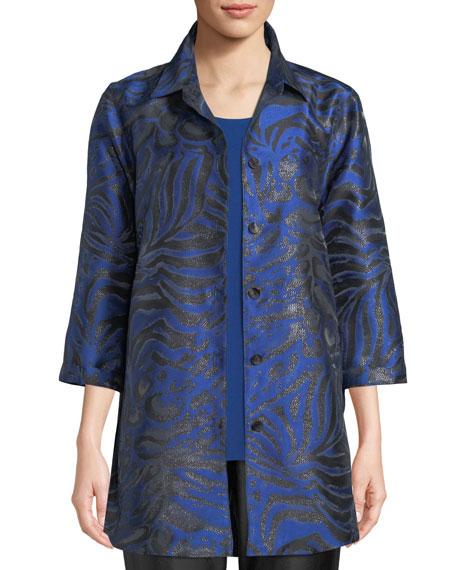 Caroline Rose 3/4-Sleeve Button-Front Shimmering Animal-Jacquard