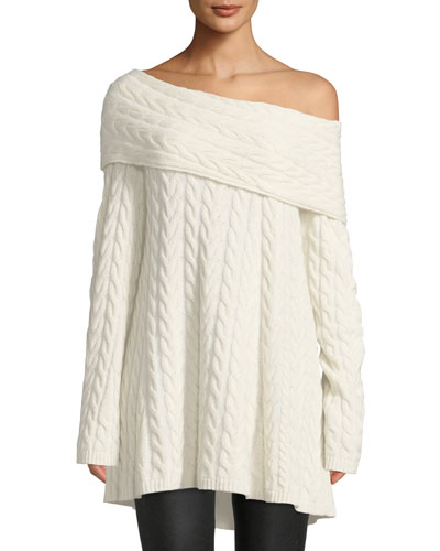 Off-the-Shoulder Long-Sleeve Cable-Knit Cashmere-Blend Sweater