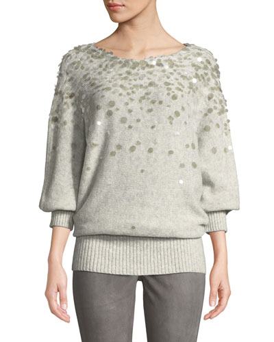 Dolman-Sleeve Brushed Cashmere-Silk Paillette Sweater
