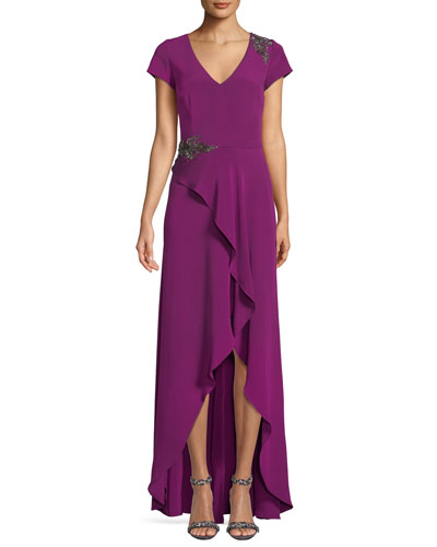 Bead Embellished Gown w/ Asymmetric Slit