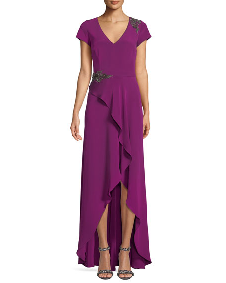 DAVID MEISTER Bead Embellished Gown W/ Asymmetric Slit in Magenta