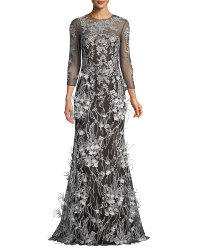 Embroidered Trumpet Gown w/ Feathers