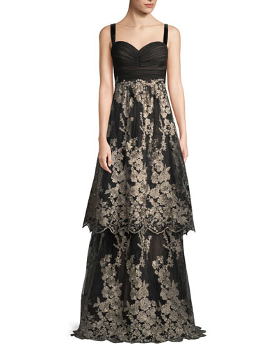 Sleeveless Tulle Gown w/ Metallic Embroidered Skirt