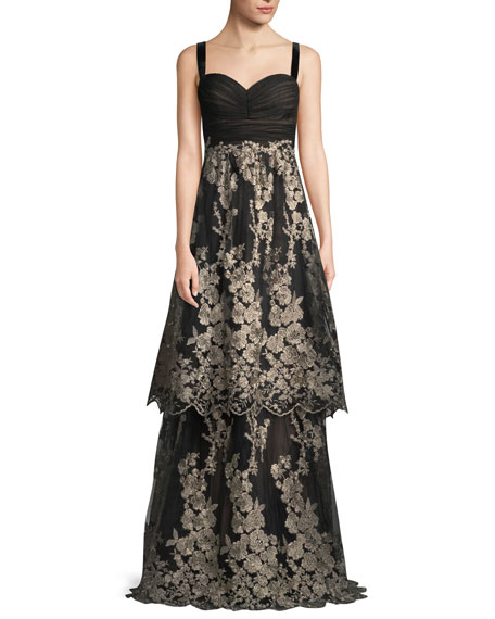 DAVID MEISTER Sleeveless Tulle Gown W/ Metallic Embroidered Skirt in Black/Gold