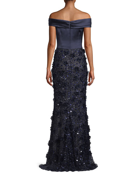 Off-the-Shoulder Satin & Beaded Gown