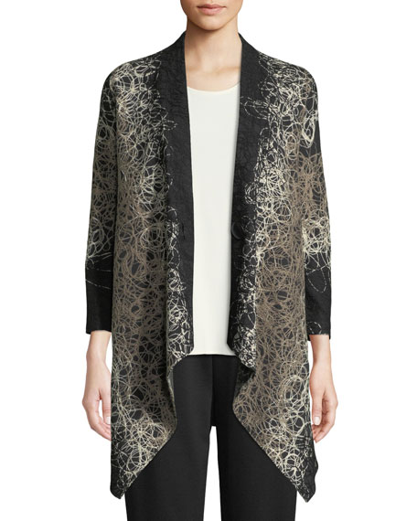 Caroline Rose Plus Size Yarn-Swirl One-Button Cardigan