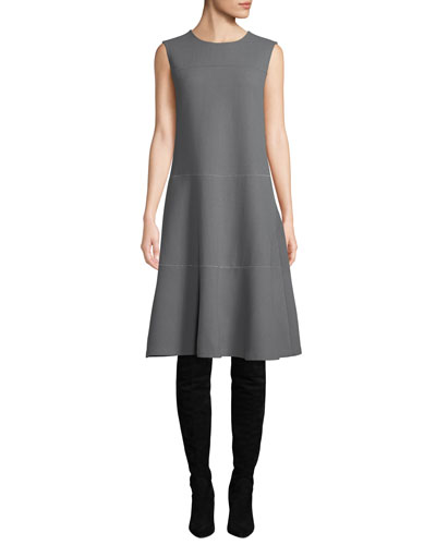 Colby Sleeveless Wool Crepe Shift Dress w/ Chain Detail