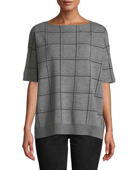 Boat-Neck Short-Sleeve Oversized Check Jacquard Sweater, Neutrals