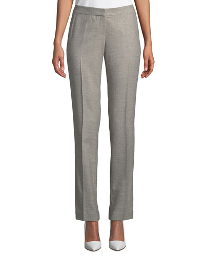 Stardust Wool Suiting Straight-Leg Pants