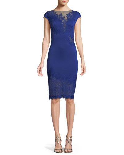 Cap-Sleeve Neoprene Lace Illusion Dress