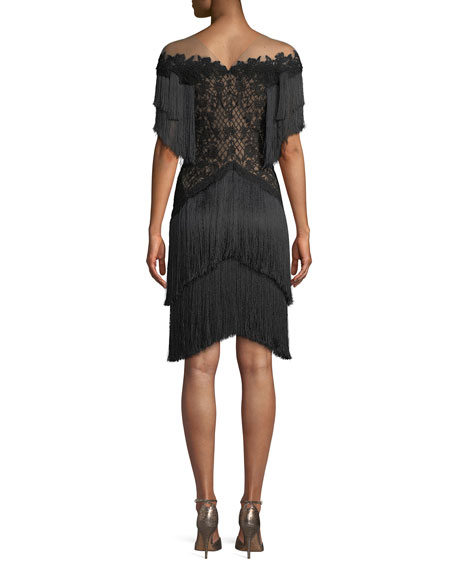 Short Dress w/ Lace Bodice & Fringe Skirt