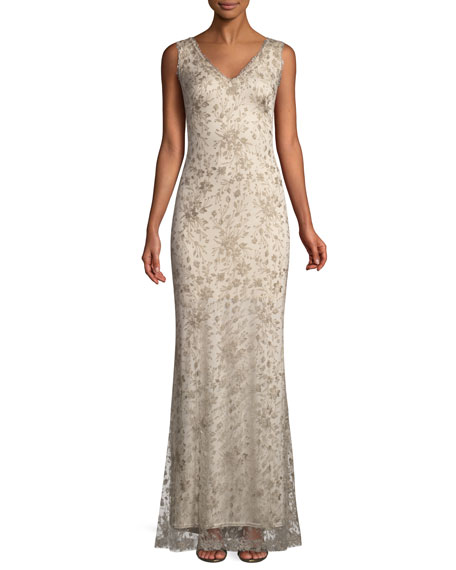 Sleeveless Embroidered Lace Gown