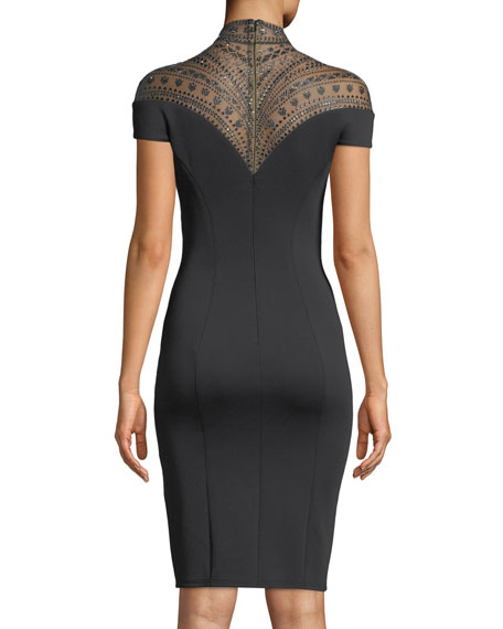 Beaded Illusion-Neck Cocktail Sheath Dress