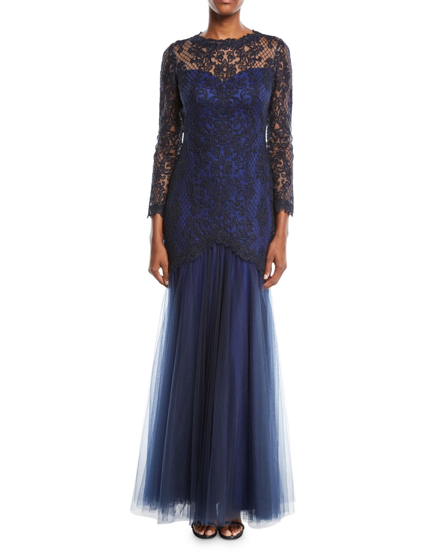 Tadashi Shoji Corded Lace Gown w/ Tulle Skirt | Neiman Marcus