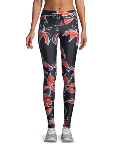 Hibiscus-Print Drawstring Yoga Pants