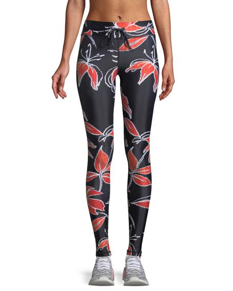 Hibiscus-Print Drawstring Yoga Pants in Black/Red