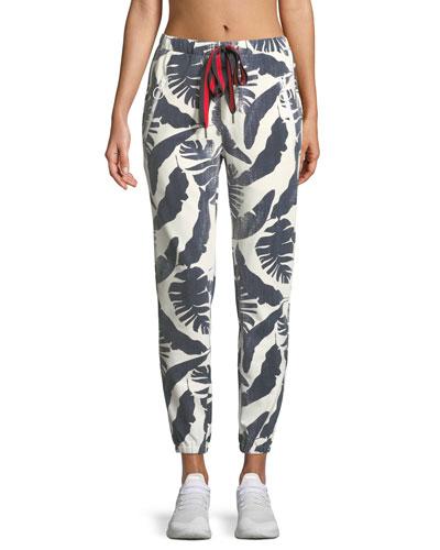 Lennox Palm-Print Jogger Pants