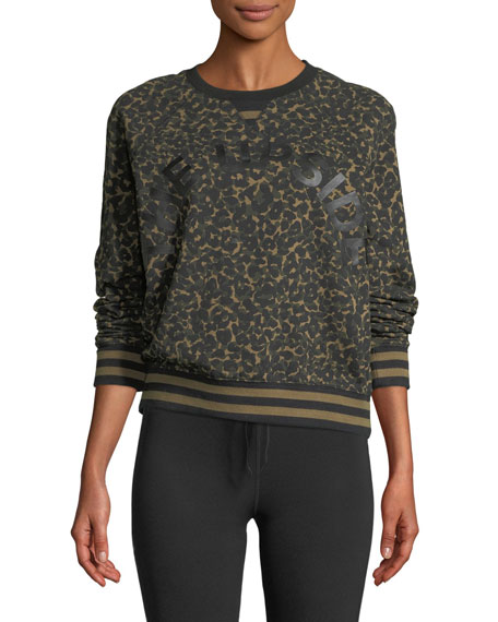 The Upside Sid Leopard-Camo Graphic Crewneck Pullover