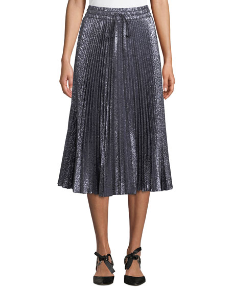REDValentino Cloque Flower-Pleated Midi Skirt