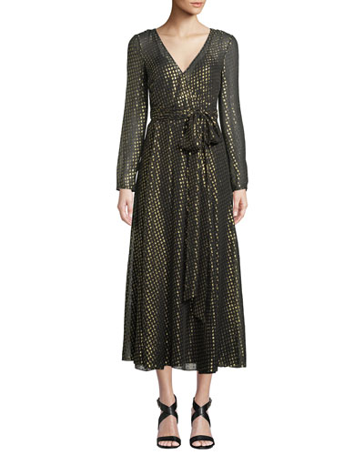 Long-Sleeve Metallic Fil Coupe Wrap Dress