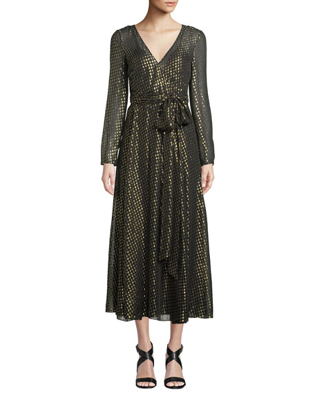 Long-Sleeve Metallic Fil Coupe Wrap Dress, Black