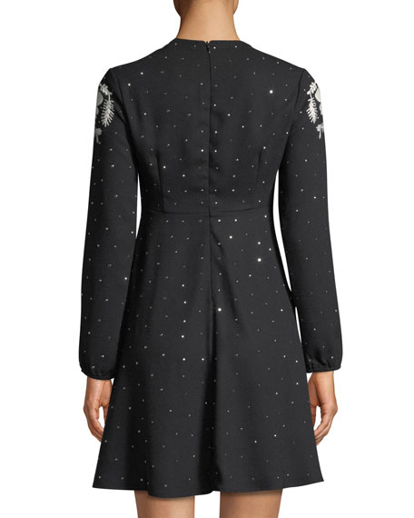 Sable Long-Sleeve Dotted Dress w/ Flower Embroidery