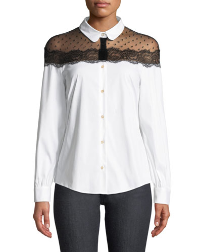 Button-Front Long-Sleeve Stretch Poplin Blouse w/ Point D'esprit