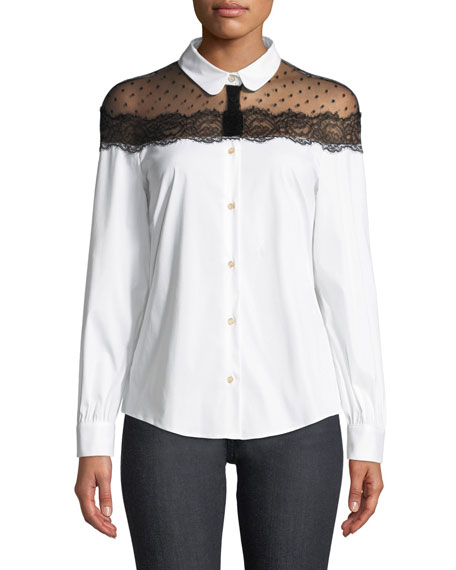 REDValentino Button-Front Long-Sleeve Stretch Poplin Blouse w/
