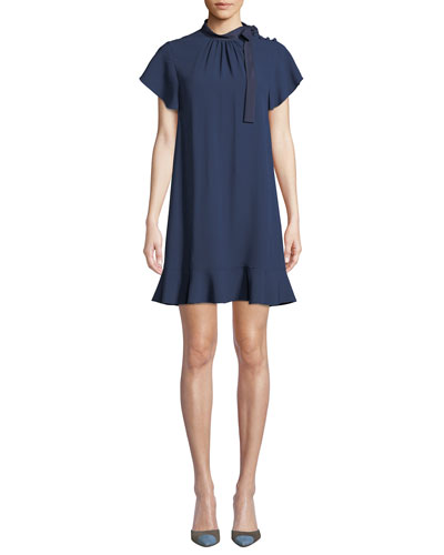 High-Neck Short-Sleeve Crepe de Chine Dress