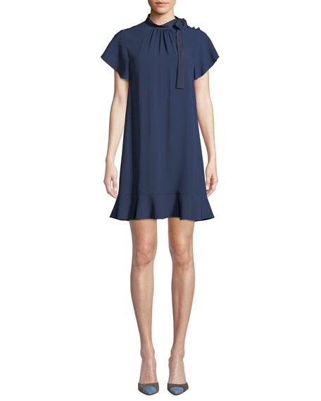 REDValentino High-Neck Short-Sleeve Crepe de Chine Dress