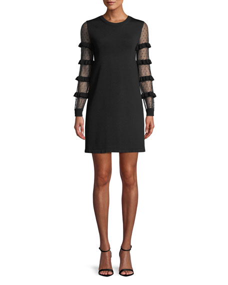 RED VALENTINO Point D'Esprit & Ruffle Long-Sleeve A-Line Knit Mini Cocktail Dress in Black