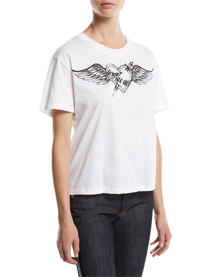 Short-Sleeve Heart Wing Printed Jersey T-Shirt